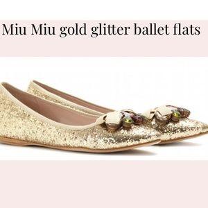 Miu Miu Sequin Ballet Flats Gold Sz 40 EUC Box